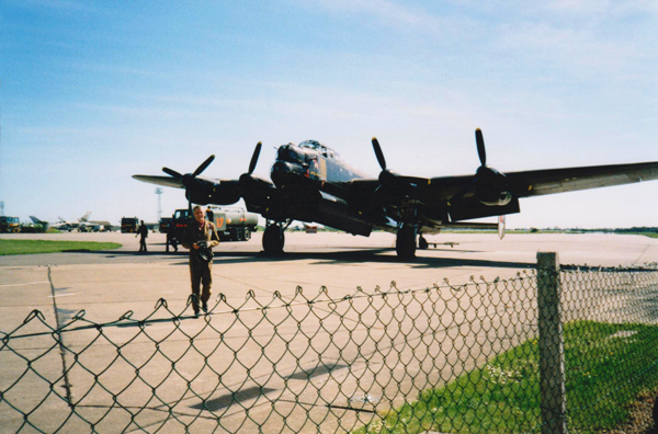 Bill Ramsey walking from the BBMF Lancaster — photo provided by Bill Ramsey