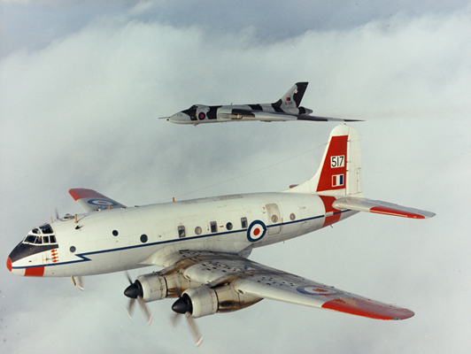Handley Page Hastings leading Avro Vulcan — photo provided by Bill Ramsey