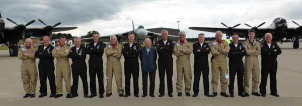 Flight crews of the Lancasters and Vulcan on this most unique of flypasts — photo provided by Bill Ramsey