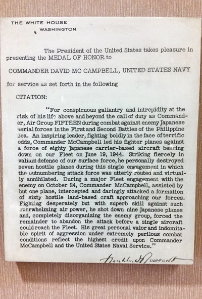 McCampbell's MoH citation signed by FDR — photo by Joseph May