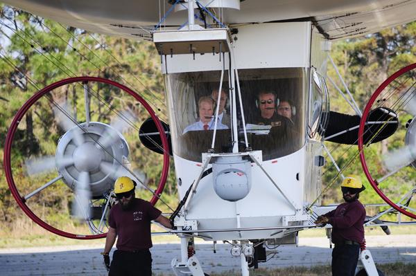 Aboard the MZ-3A Senator Bill Nelson (also an astronaut) prepares to fly over Fernandina Beach FL – U.S. Navy photo by Mass Comm Spec 2nd Class Adam Henderson