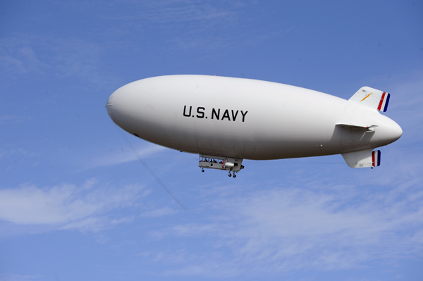 MZ-3A, the U.S. Navy's sole manned airship aloft and in flight over Patuxent River MD – U.S. Navy photo by John F. Williams