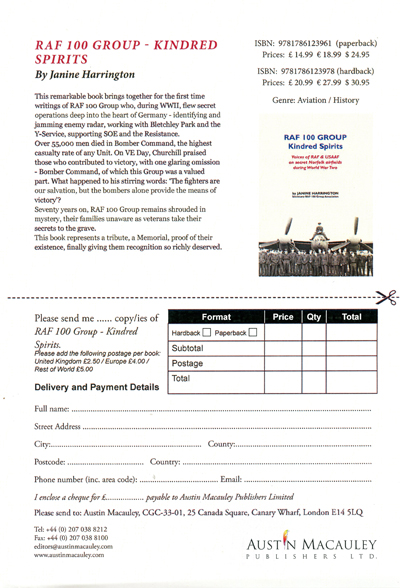 RAF Group 100 Kindred Spirits Order Form
