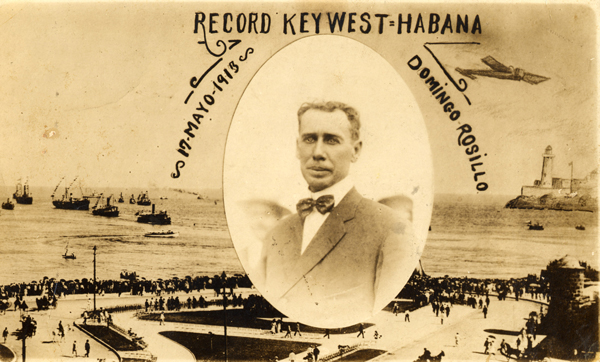 A postcard with Domingo Rosillo and his firt flight from Key West to cuba. From the Monroe County Library Collection.