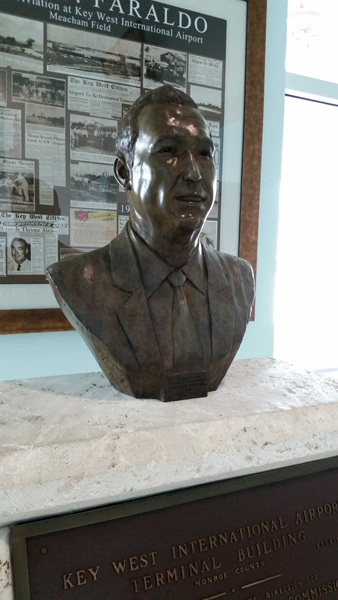 Key West Airport bust of George Faraldo (artist unspecified) — photo by Joseph May